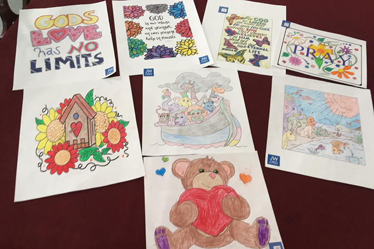 Coloring pages that have come in for residents at Life Care Center of Red Bank, Tennessee