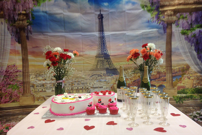 Valentine's Day had a Paris theme at Garden Terrace Healthcare Center of Federal Way.