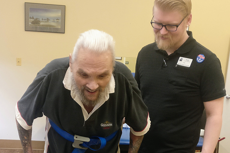 Life Care Center of Coos Bay helps patient walk for first time in 5 years