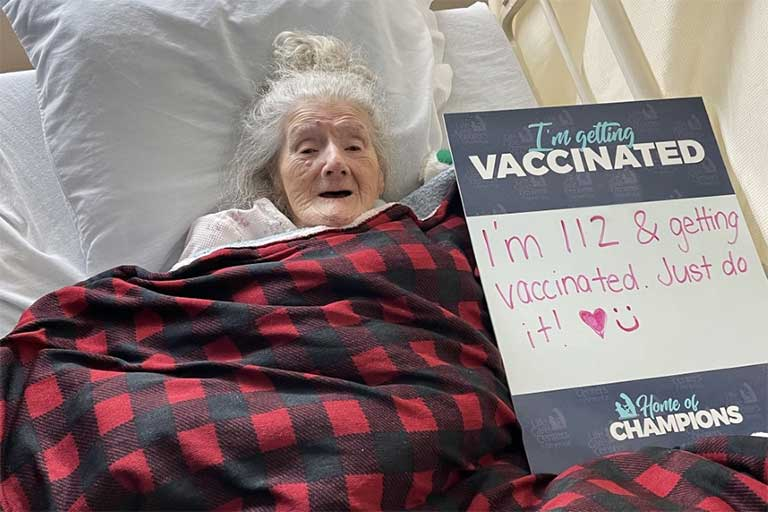 112-year-old at Life Care of Nashoba Valley gets vaccinated for COVID-19